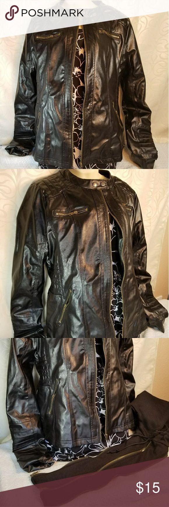 """UNKNOWN BRAND Black Faux Leather Jacket UNKNOWN BRAND Black Faux Leather Jacket Size: XXL (Fits closer to a Med-Large) Detachable hood and middle zipper piece Smoke Free Home Pet Free Home Great Condition All Offers Considered!  Personally, I would wear this jacket every day but I'm more of a large/extra large.  Also, I'm not listing a brand as it doesn't have tags... no brand, no """"care for"""", only size.   Thanks and Have a Great Day! Jackets & Coats"""