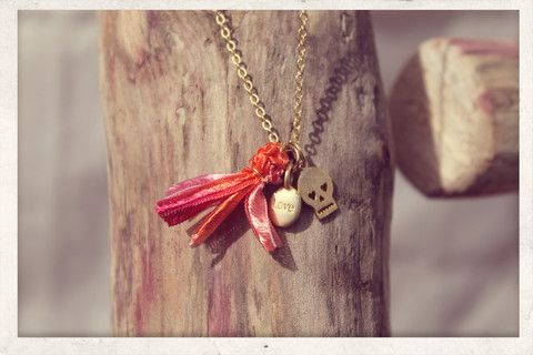 Tassel necklace made with love from 16k gold plated chain, 14k gold plated love & skull charms and silky satin ribbons!