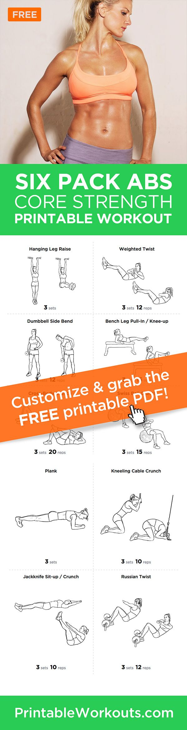 394 best Printable Workout-sheets images on Pinterest | Fitness ...
