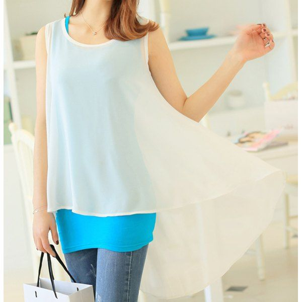 Simple Design Solid Color Tank Top + Blouse Twinset For Women
