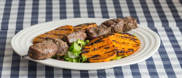 Grilled Beef Skewers with Sweet Potato