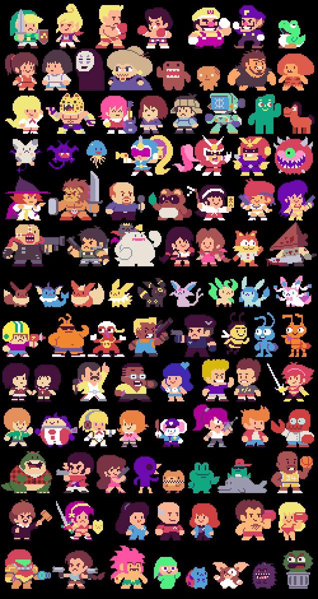 El gran artista del pixel  Paul Robertson lo volvió a hacer… Se regresó a 1986 y se inspiró en un classico juego de TAITO *Bubble Bobble. Tomó a 300 personajes de la cultura Pop y los reinvento al estilo de la vieja escuela.  ¿A cuántos reconocen?