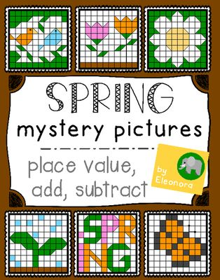 Spring Hundreds Chart Mystery Pictures - Place Value, Add, Subtract from Eleonora on TeachersNotebook.com (41 pages)