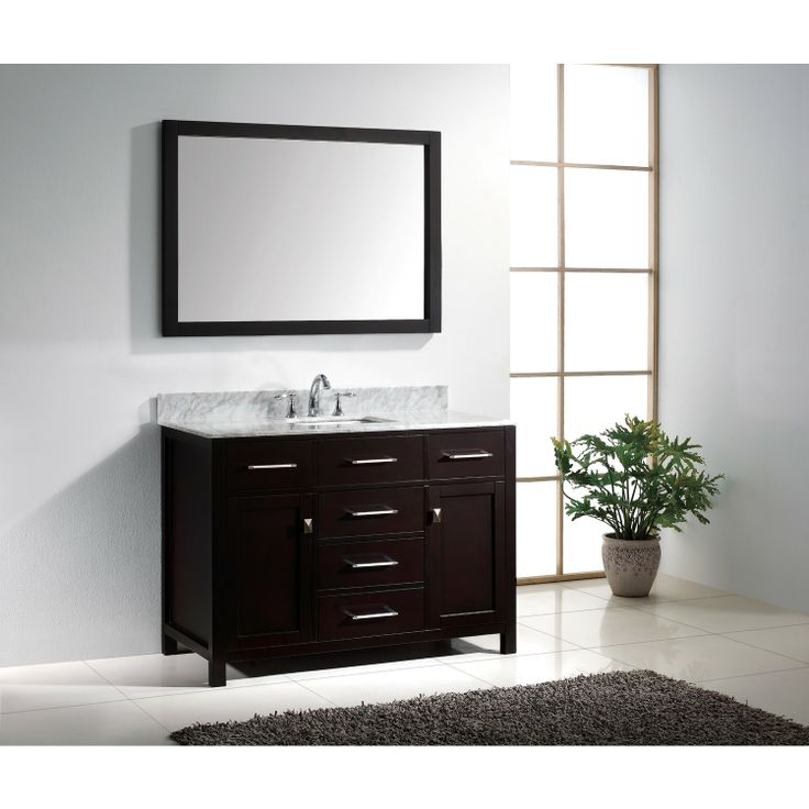 Make Photo Gallery Virtu USA Caroline Single Square Sink Bathroom Vanity In Espresso With Italian Carrara Marble