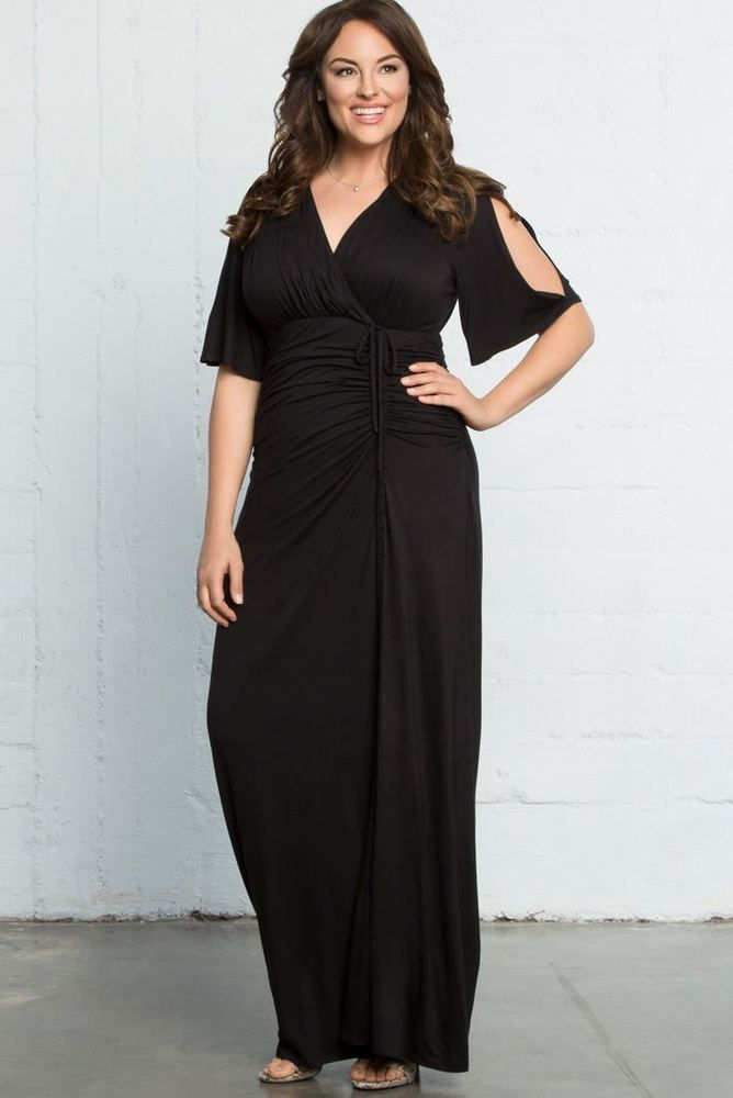 5d7e89d91c1 Here is the feminine and super sophisticated ruched cold shoulder Bella  Braided maxi dress from Kiyonna! (Affiliate link. I make a small commission)
