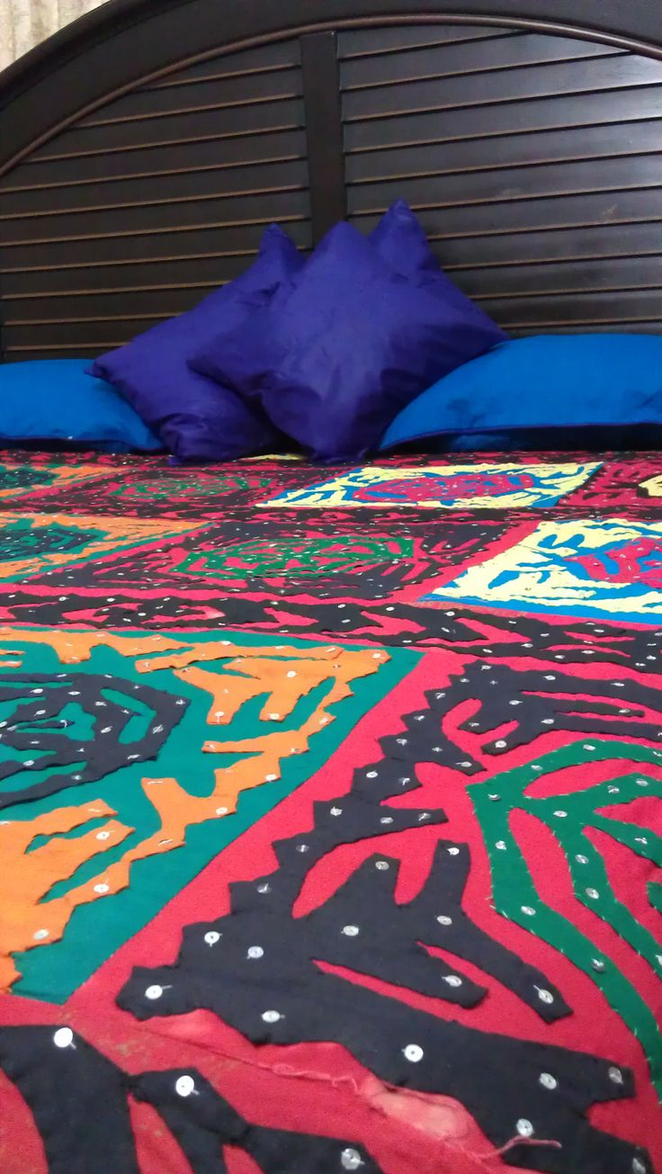 Pakistani Traditional Bed Cover for double bed (Ralli). Handmade  without Pillows  Price: 1500 PKR