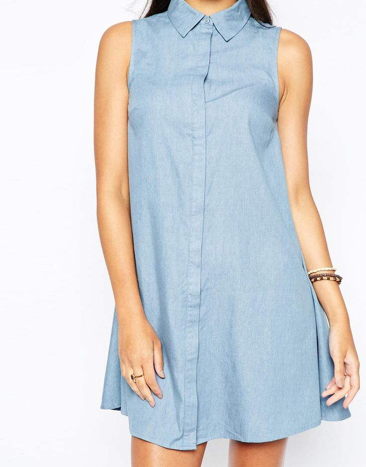 Image 3 - Influence - Robe chemise sans manches en chambray