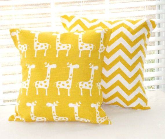 "Yellow Baby Bedding, Baby Nursery, Yellow Giraffes and Chevron, set of 2 - 18"" x 18"", MORE Sizes Avaiable"