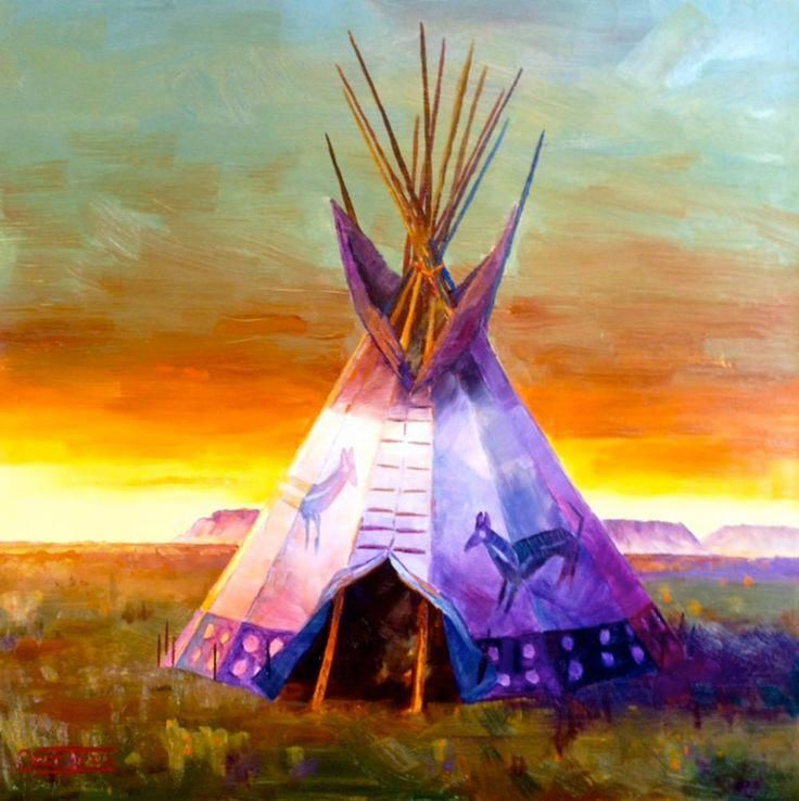 TEEPEE WESTERN HOME SUNSET INDIAN NATIVE SPIRIT NEW AGE PEACE limited edition