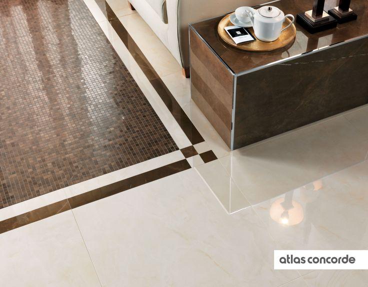 #MARVEL champagne and bronze   #Mosaic   #Floor design   #AtlasConcorde   #Tiles   #Ceramic   #PorcelainTiles