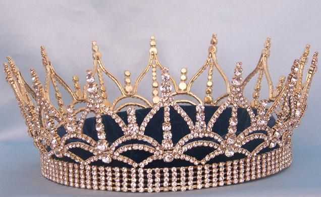 The Regency Full Rhinestone unisex Queen king Gold Crown
