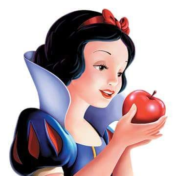 "Snow White...and the poisoned apple in her hands that was given to her by her evil stepmother. ""Who's the fairest in the land?"""