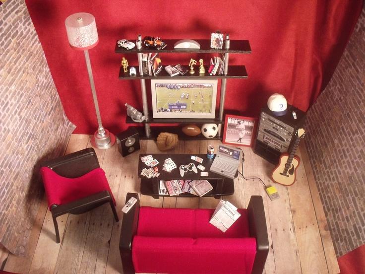 Barbie Doll KENu0027s DEN DIORAMA, Living Room Furniture Custom 1/6 Scale  Realistic Miniatures Part 68