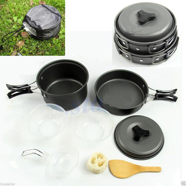 8 pz Hot Worldwde Zaino In Spalla Cucina Picnic Escursione di Campeggio Esterno Pentole Bowl Pot Pan Set di goccia