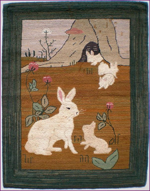 Grenfell Hooked Rug - Arctic Hare, 1920's