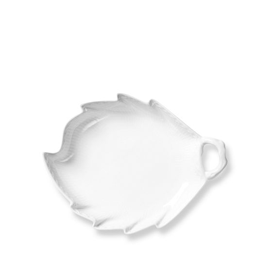 Royal Copenhagen White Fluted Half Lace Leaf Shaped Dish