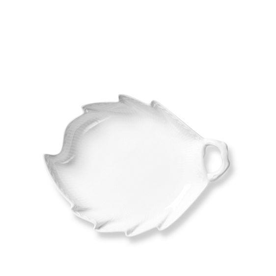 Royal Copenhagen White Fluted Half Lace Leaf Shaped Dish