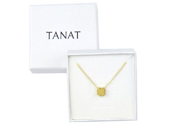 Gilded clover necklace. Pz naszyjnik KONICZYNKA NI1: http://www.tanat.eu/naszyjniki/1931-pz-naszyjnik-koniczynka-ni1.html  #clovernecklace #jewelryclover #clover #simplenecklace