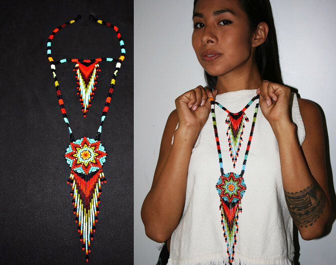 Native American Beaded Necklace, Huichol Jewelry, Seed Bead Necklace, Huichol Necklace, American Indian Beadwork, Medallion Necklace, Tribal by BiuluArtisanBoutique on Etsy https://www.etsy.com/listing/250549586/native-american-beaded-necklace-huichol