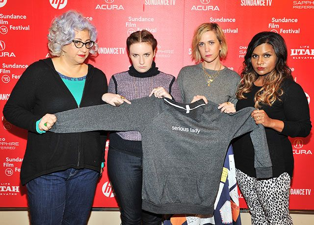 Jenji Kohan, Lena Dunham, Kristen Wiig, and Mindy Kahling posed together at the Power of Story Panel: Serious Ladies at the 2015 Sundance Film Festival on Saturday, Jan. 24 in Park City, Utah