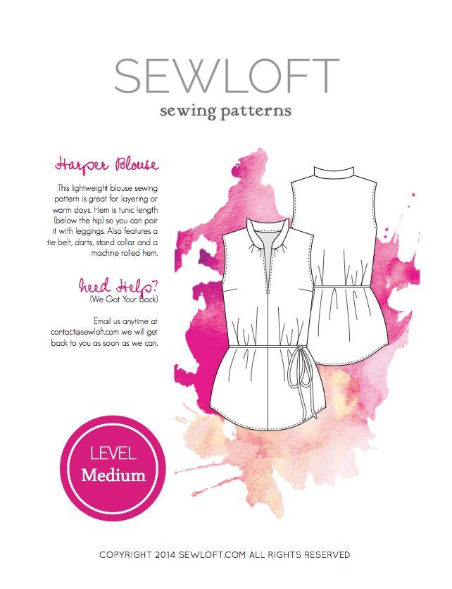 7 besten Sewloft Sewing Patterns Bilder auf Pinterest | Kostenlos ...