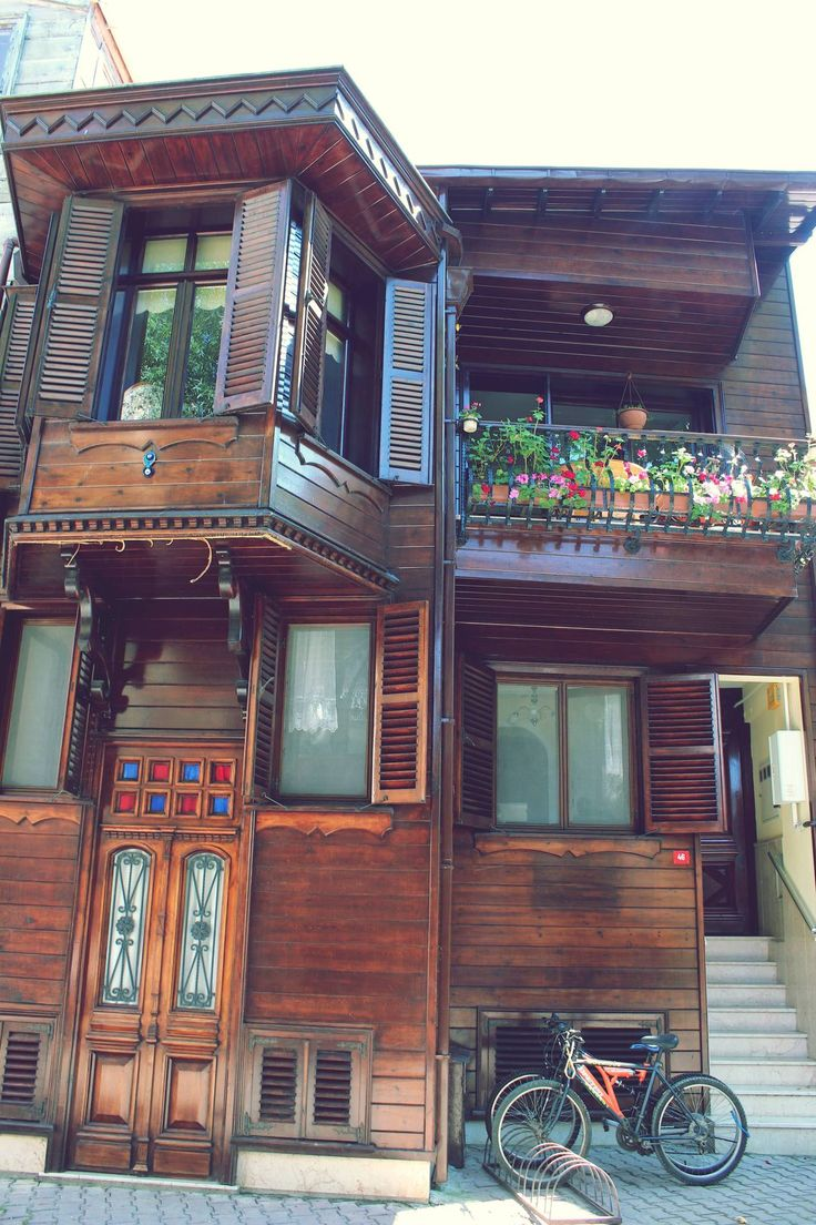 Büyük Ada, İstanbul, Türkiye.  I love how the top part of the house hangs out over the lower levels.