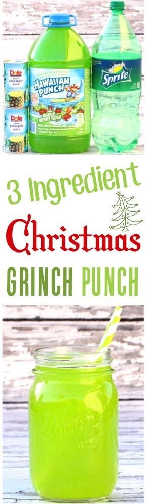Easy Party Punch Recipes for Kids! This festive 3 Ingredient sparkling Green Grinch Punch is the perfect addition to your holiday and Christmas parties. Quick to make and SO delicious!