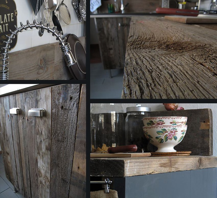 Kitchens I create: old wood mixed with steel.