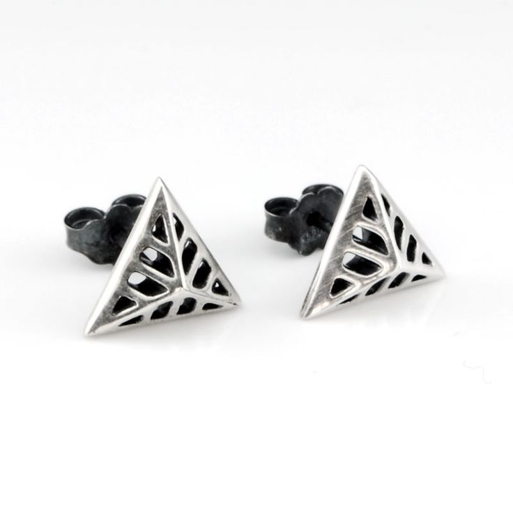 Triangular Flowers - Silver Stud Earrings #triangular #earrings #silver #stud #rock #chic #gift