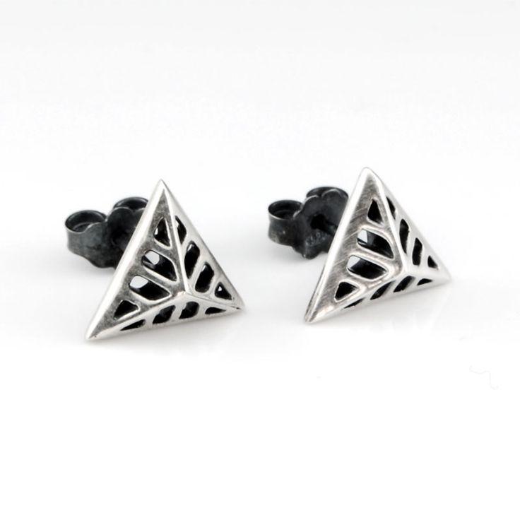 Triangular Flowers - Silver Stud Earrings #triangular #earrings #silver #stud #rock #chic #gift