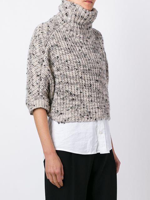 Brunello Cucinelli укороченный свитер с высокой горловиной Шёлк 10% Кашемир 90%