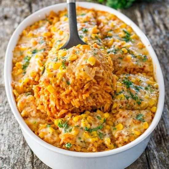 Chicken Enchilada Rice Casserole - all the makings of a chicken enchilada but with rice. It's simply delicious!