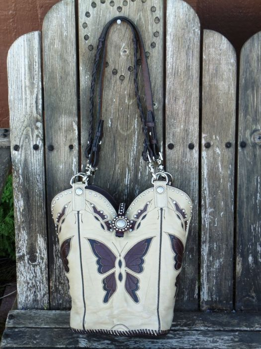 Tony Lama Cowboy boot designed bags. Cute butterfly design. Cowgirl boot inspired shoulder bag. Cute! #equestrian #equine #horse