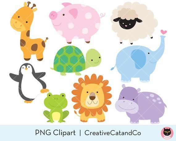 Animal Clipart Clip Art Baby Animal Jungle Clipart Zoo Clipart Etsy Animal Clipart Cute Baby Animals Cute Animal Clipart