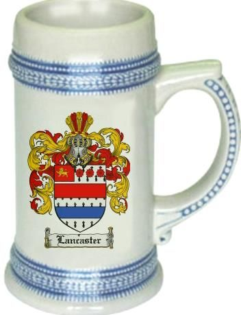 Lancaster Coat of Arms / Family Crest stein mug |  $21.99 atwww.4crests.com - This stein starts with the family coat of arms hand drawn digitally. We then use a high quality 22 oz. ceramic stein to apply the coat of arms to via sublimation.