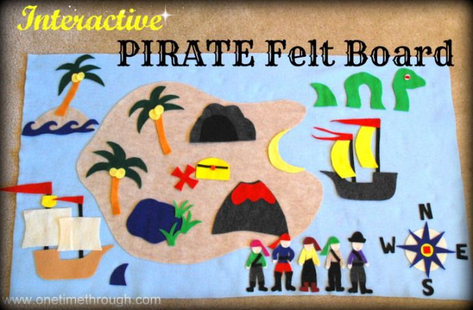 Make an interactive pirate-themed felt storyboard for hours of imaginative play with your #toddler or #prechooler.  #felt #pirates www.onetimethrough.com