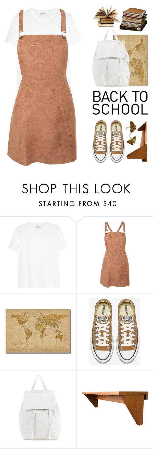 """Back to school"" by fanfanfann ❤ liked on Polyvore featuring Yves Saint Laurent, Pilot, Trademark Fine Art and Mansur Gavriel"