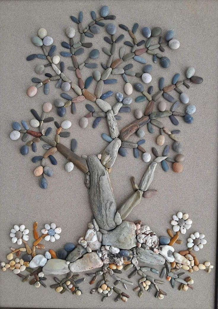 I would use stones and driftwood.