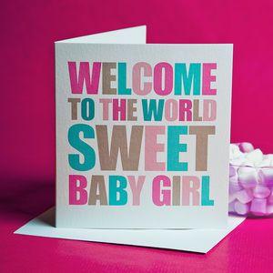 Chunky Design New Baby Girl Card