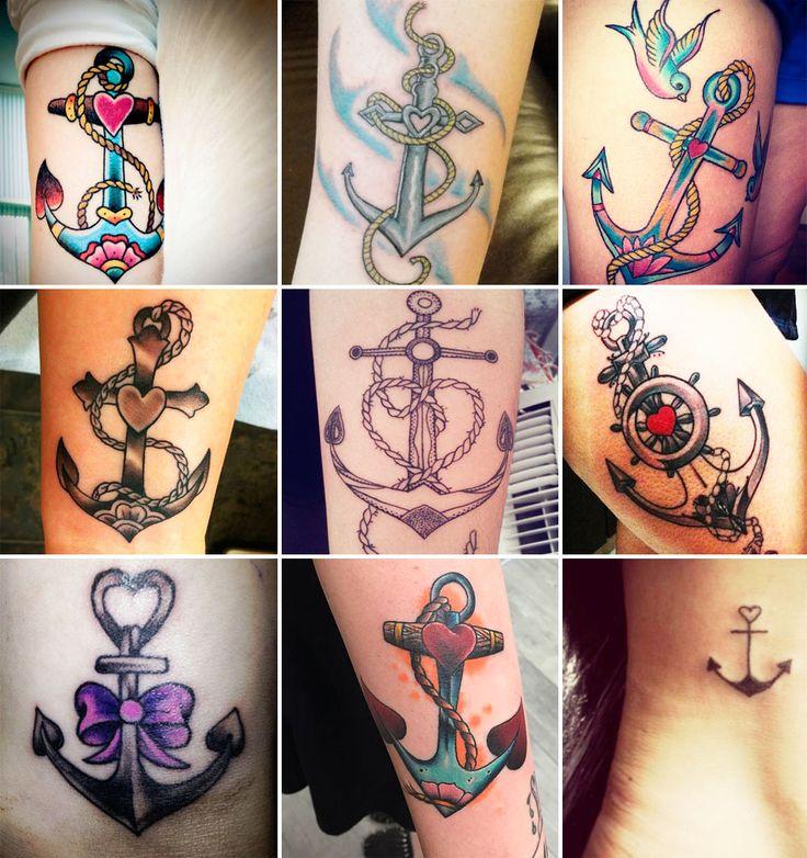 idee tatuaggi ancora e cuori