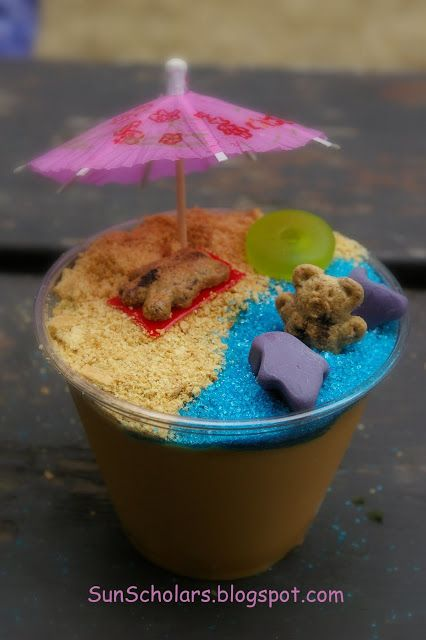 Pudding Beach Cups by sunscholars: Super fun! Super simple! #Kids #Snacks #Pudding_Cups #Cradts