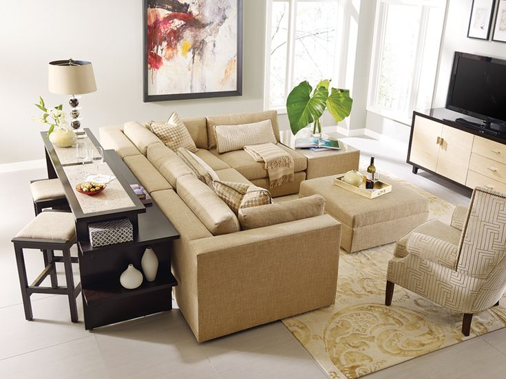 Stickley Furnitureu0027s Gathering Island With Stone Top And Bodega Bay Sofa  Sectional