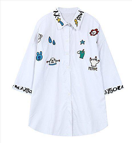 (シーファニー)Cfanny レディース 無地 可愛い 綿 個性的 刺繍 ゆったり チュニック トップス ブラウス…