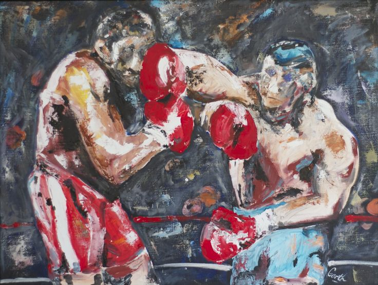 FINEARTSEEN - View Ducking and Diving by Garth Bayley. A stunning original painting of two boxers. Available on FineArtSeen - The Home Of Original Art. Enjoy Free Delivery with every order. << Pin For Later >>