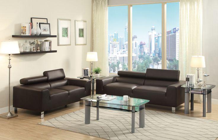 Bobkona Ellis Bonded Leather Sofa and Loveseat