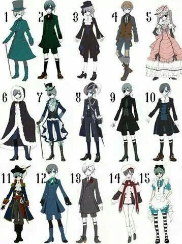 All of Ciel's differing styles... I loved number 11 on him best he looked better in thatXD Totally suited him