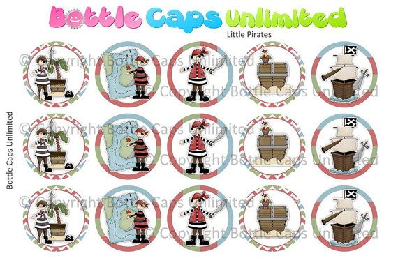 15 Little Pirates Download for 1 Bottle Caps 4x6 by MaddieZee, $1.50