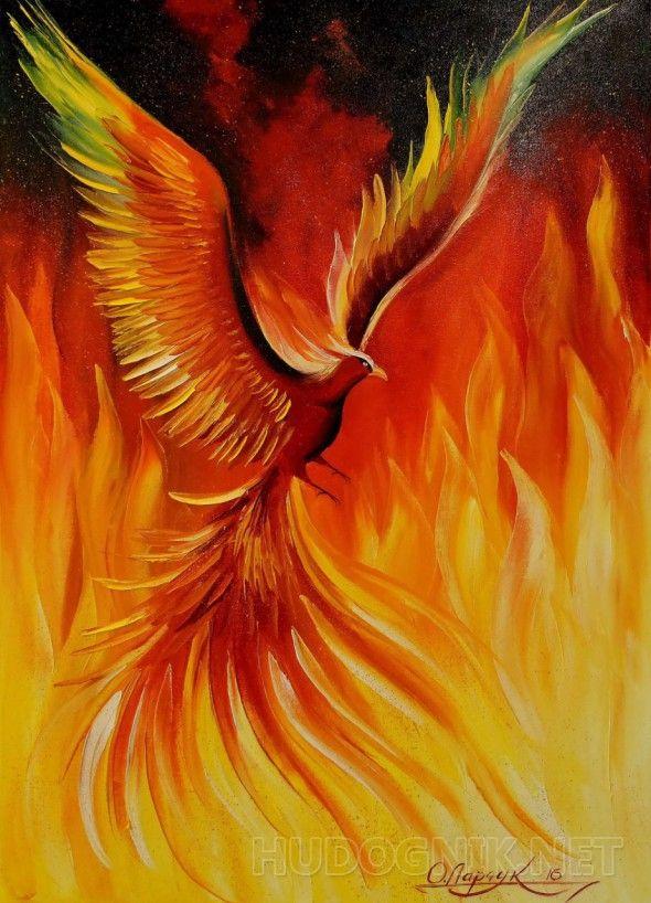 Птица Феникс  Птица Феникс,картина маслом на холсте,картина маслом для интерьера,природа,красота,картина маслом на подарок,импрессионизм,мифология,птица