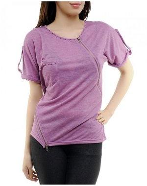 Purple Front Zipper Top