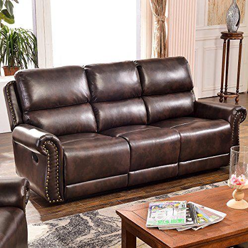 Harper & Bright Designs Sectional Recliner Sofa Set (Brown ...